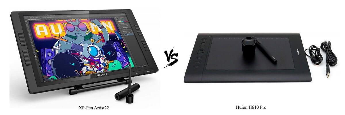 XP-Pen Artist22 vs Huion H610 Pro